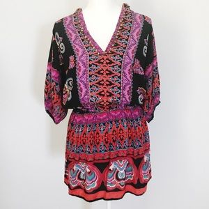 Angie colorful boho style tunic top